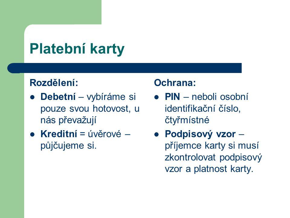 Platební karty Rozdělení: