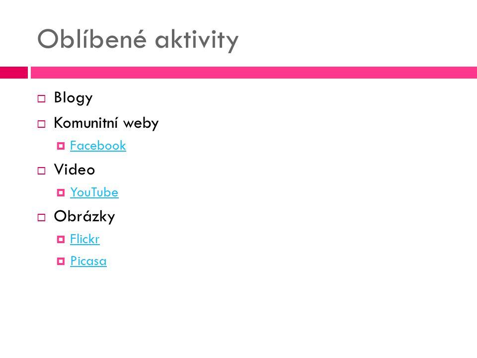 Oblíbené aktivity Blogy Komunitní weby Video Obrázky Facebook YouTube
