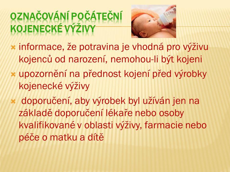 Označování počáteční kojenecké výživy