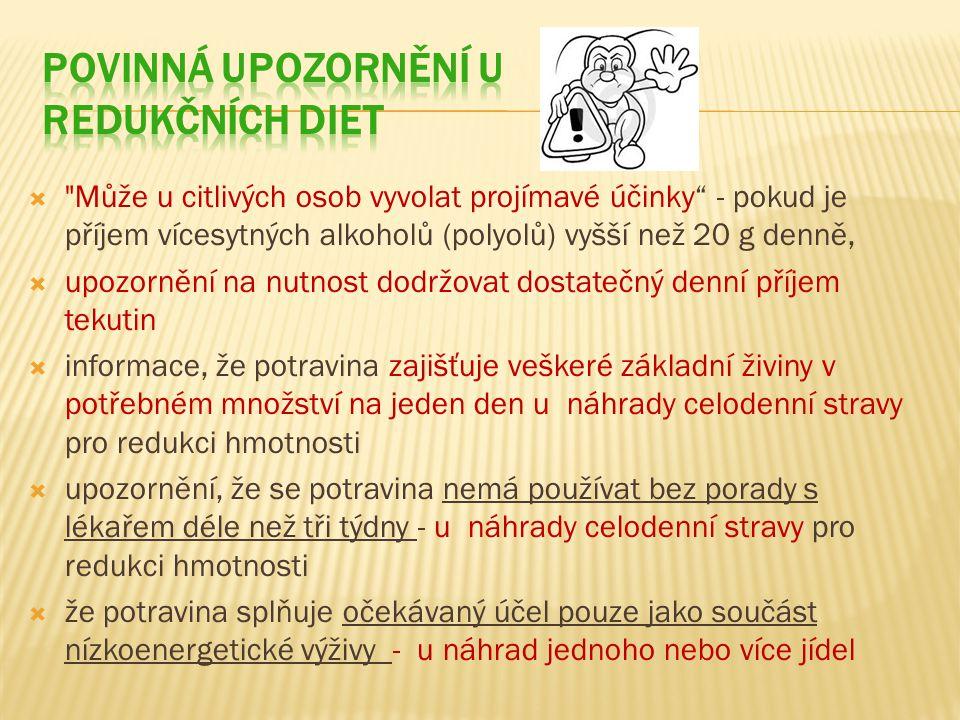 Povinná upozornění u redukčních diet