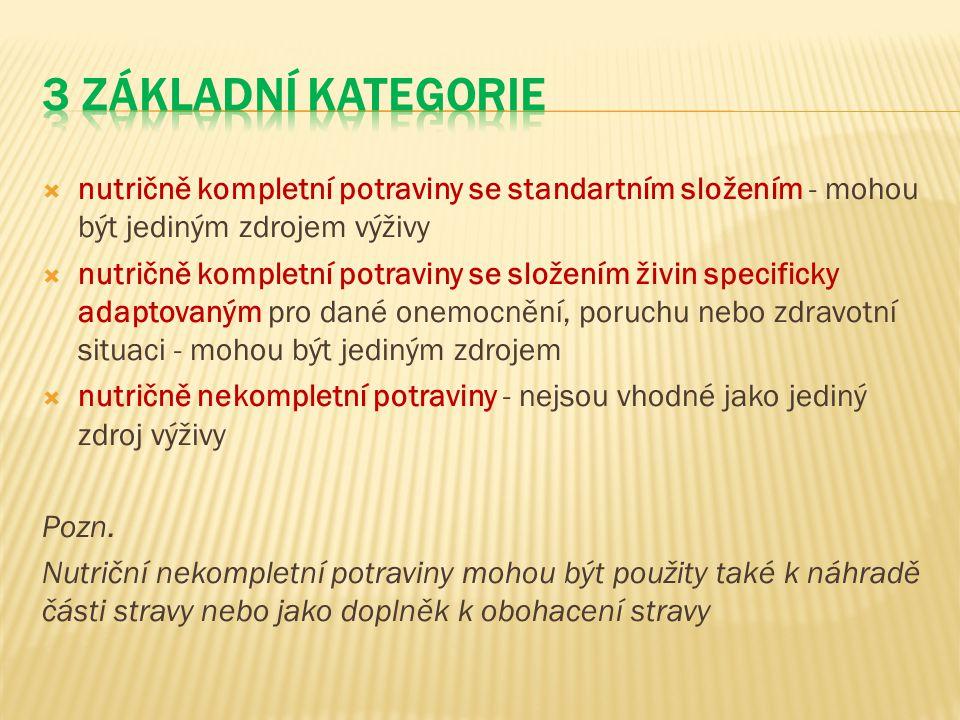 3 základní kategorie nutričně kompletní potraviny se standartním složením - mohou být jediným zdrojem výživy.