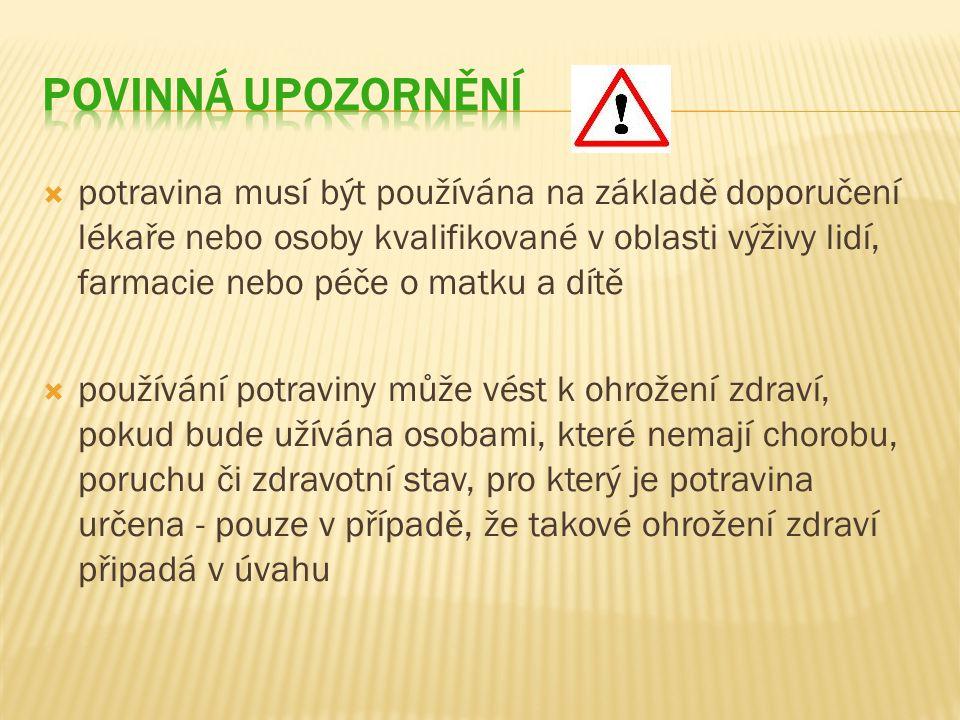 Povinná upozornění