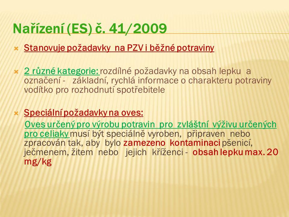 Nařízení (ES) č. 41/2009 Stanovuje požadavky na PZV i běžné potraviny