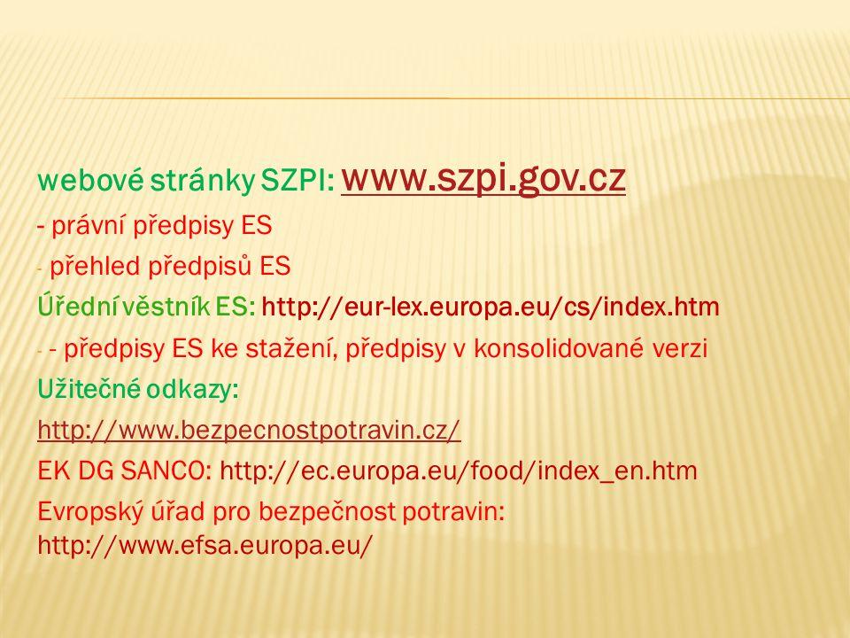 webové stránky SZPI: www.szpi.gov.cz