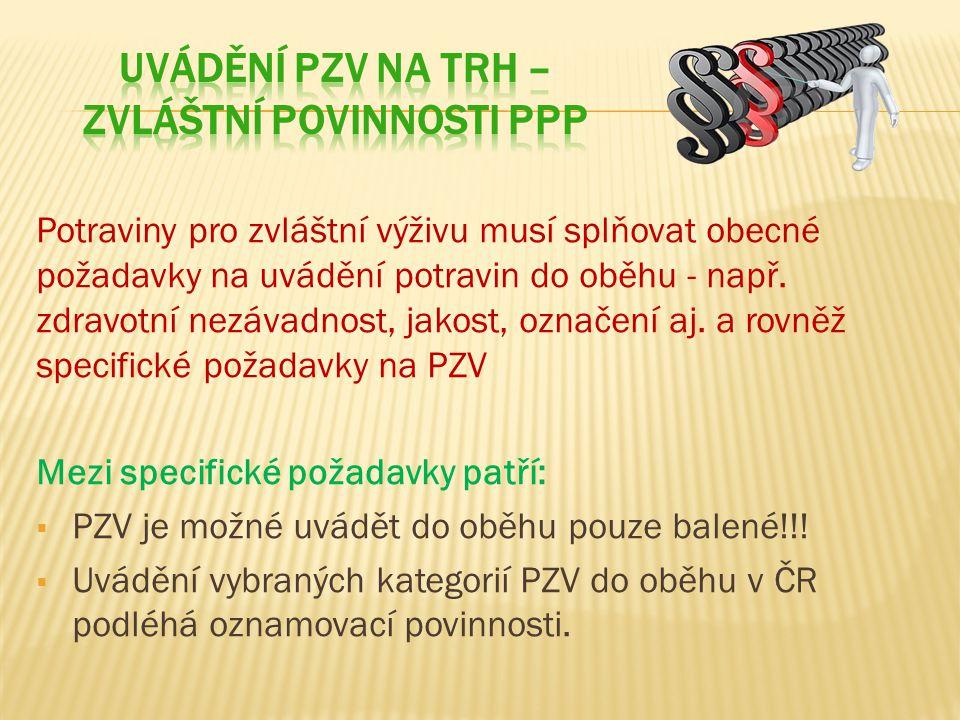 Uvádění PZV na trh – zvláštní povinnosti PPP