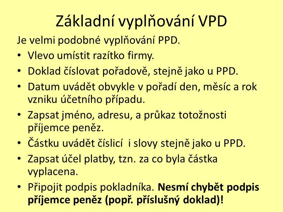 Základní vyplňování VPD