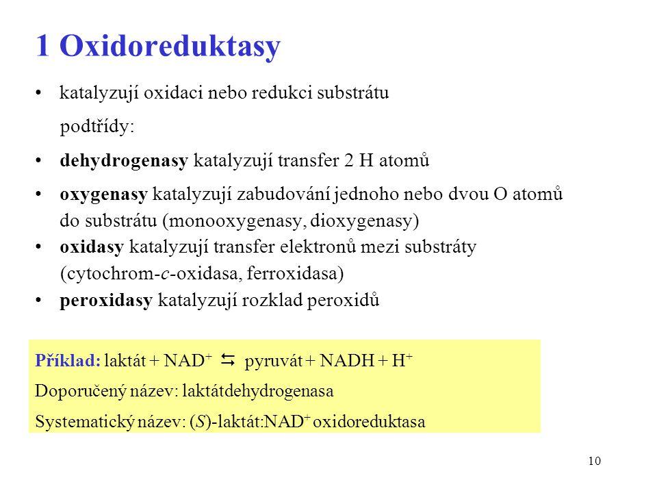 1 Oxidoreduktasy katalyzují oxidaci nebo redukci substrátu podtřídy: