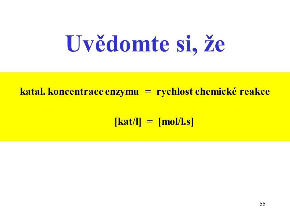 katal. koncentrace enzymu = rychlost chemické reakce