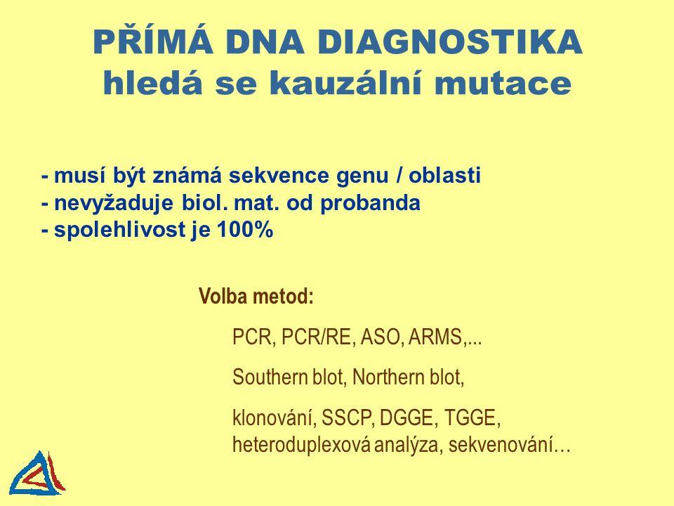PŘÍMÁ DNA DIAGNOSTIKA hledá se kauzální mutace