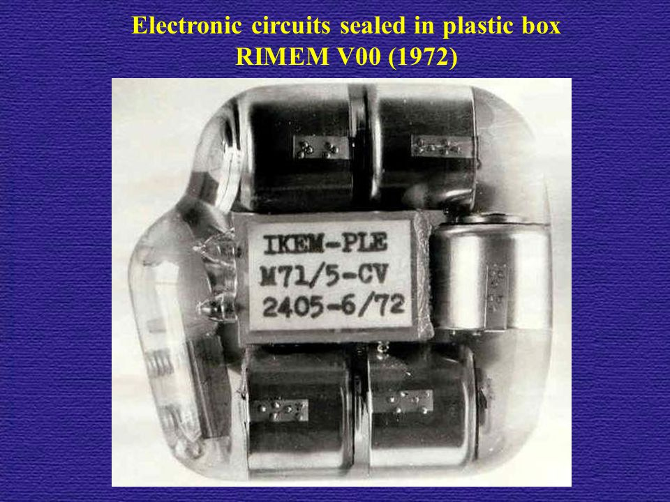 Electronic circuits sealed in plastic box
