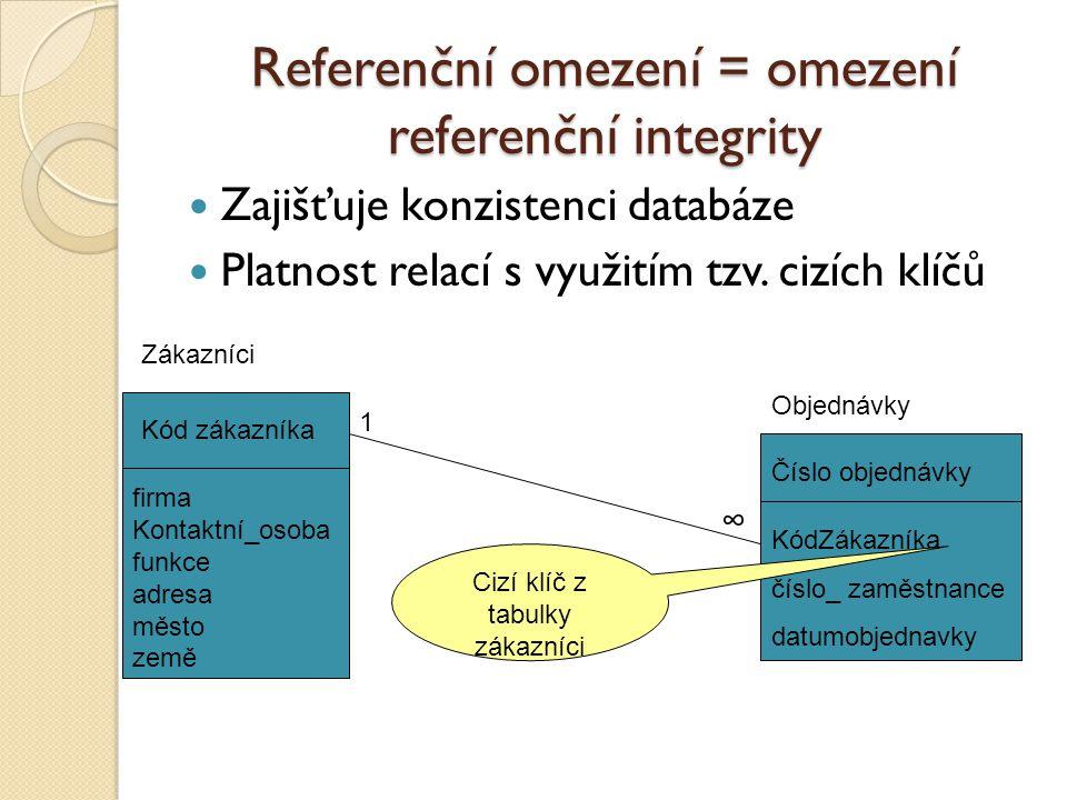 Referenční omezení = omezení referenční integrity