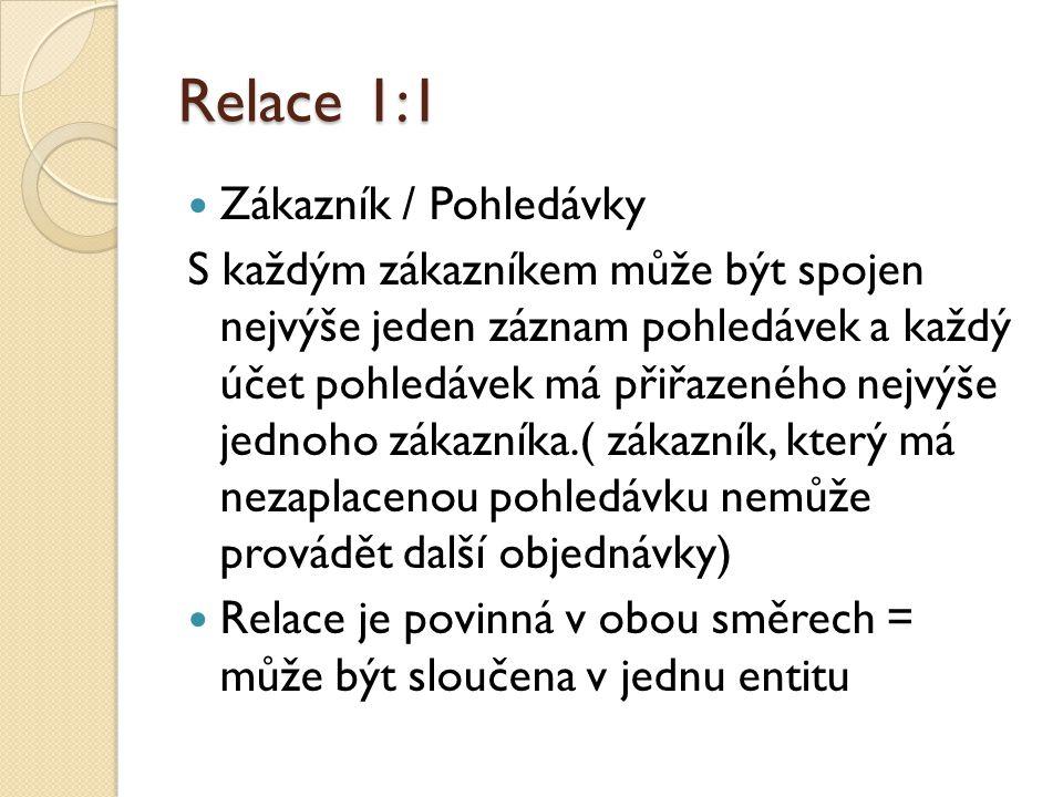 Relace 1:1 Zákazník / Pohledávky