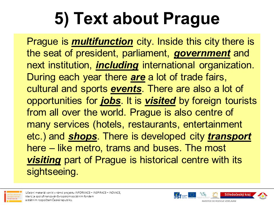 5) Text about Prague