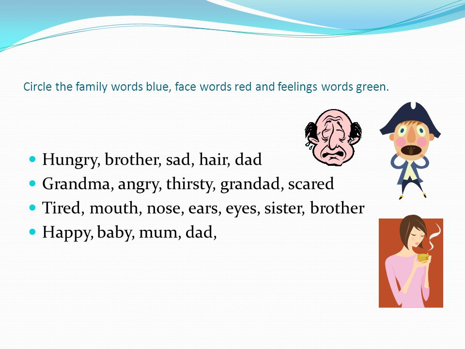 Circle the family words blue, face words red and feelings words green.
