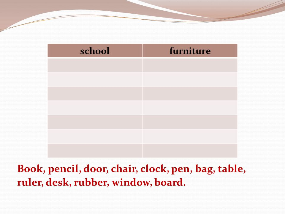 Book, pencil, door, chair, clock, pen, bag, table, ruler, desk, rubber, window, board.