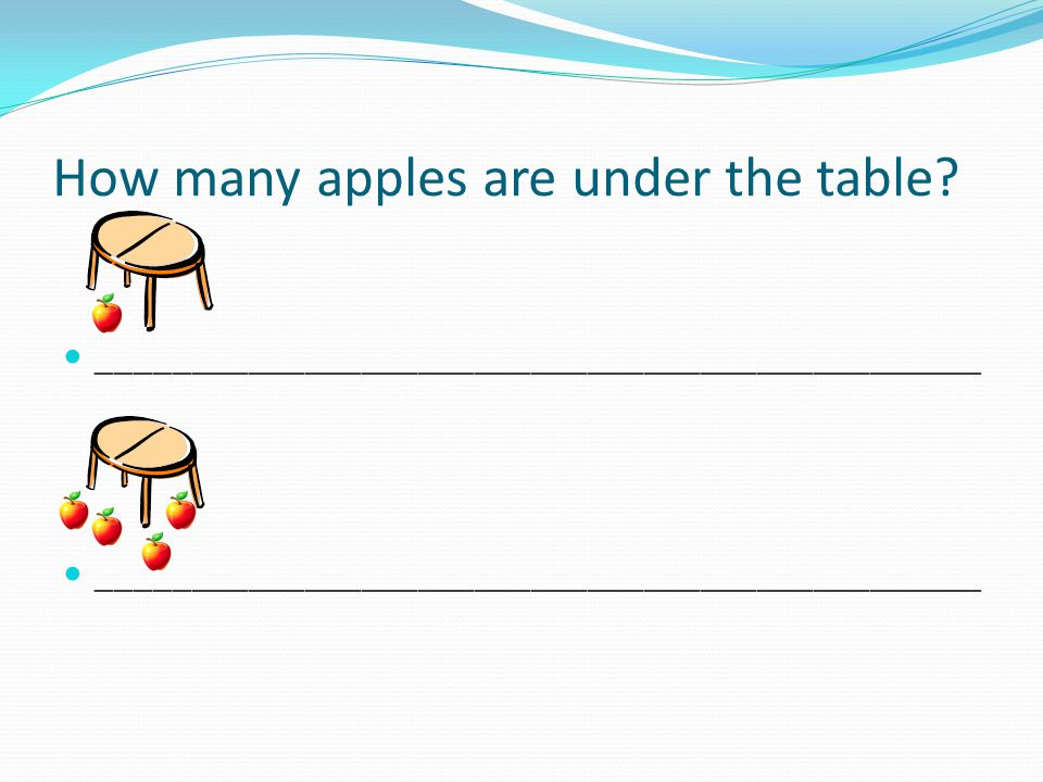 How many apples are under the table