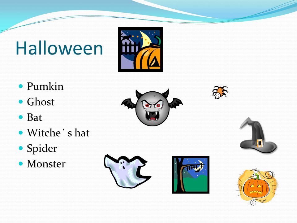 Halloween Pumkin Ghost Bat Witche´ s hat Spider Monster