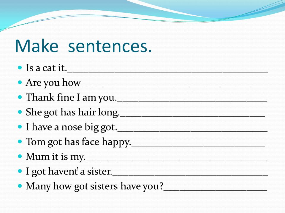 Make sentences. Is a cat it._______________________________________