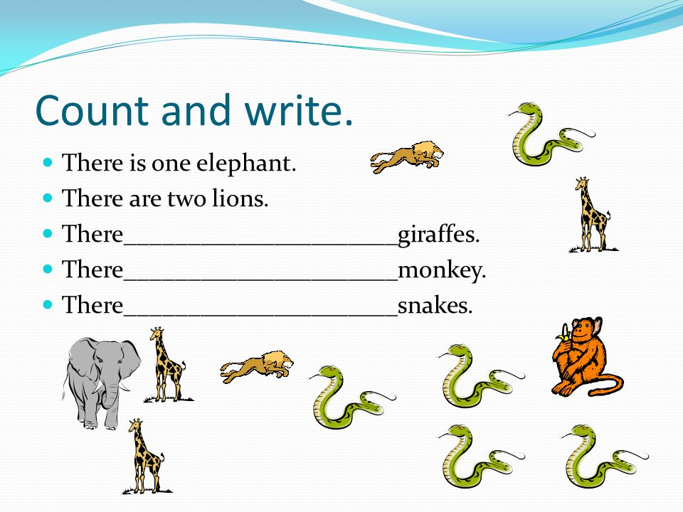 Count and write. There is one elephant. There are two lions.