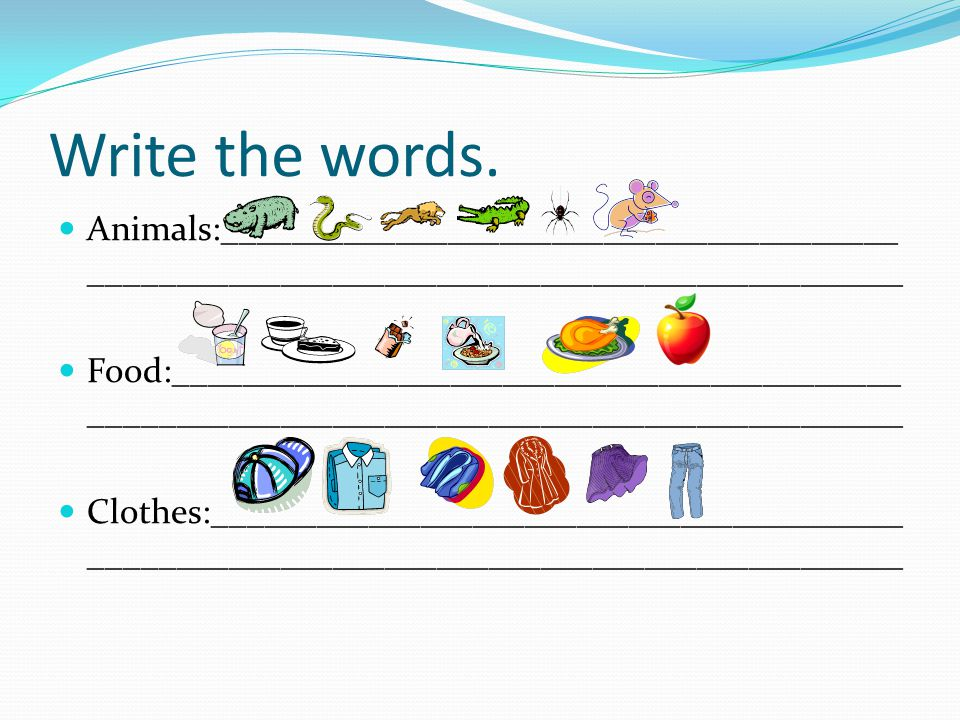Write the words. Animals:______________________________________________________________________________________.