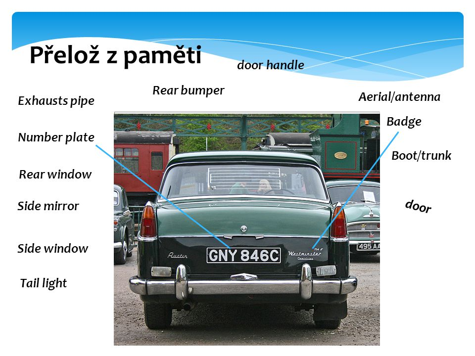 Přelož z paměti door handle Rear bumper Aerial/antenna Exhausts pipe