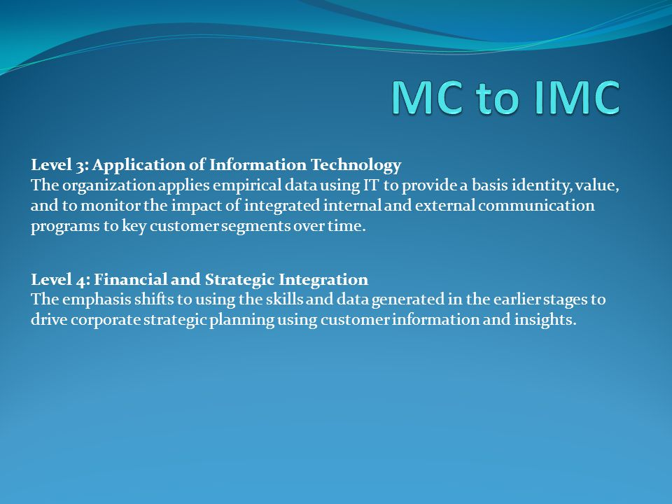 MC to IMC Level 3: Application of Information Technology
