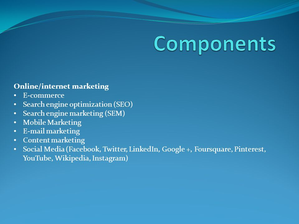 Components Online/internet marketing E-commerce