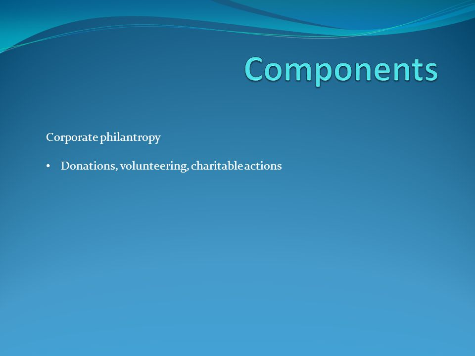 Components Corporate philantropy