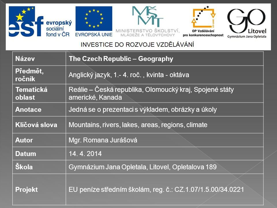 Název The Czech Republic – Geography. Předmět, ročník. Anglický jazyk, 1.- 4. roč. , kvinta - oktáva.