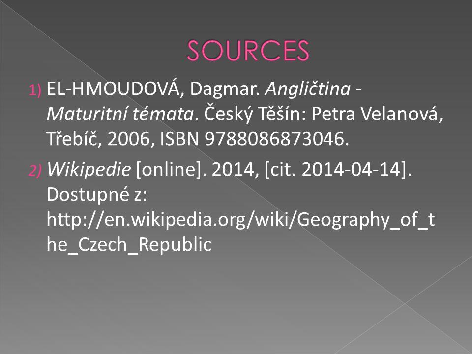 SOURCES EL-HMOUDOVÁ, Dagmar. Angličtina - Maturitní témata. Český Těšín: Petra Velanová, Třebíč, 2006, ISBN 9788086873046.