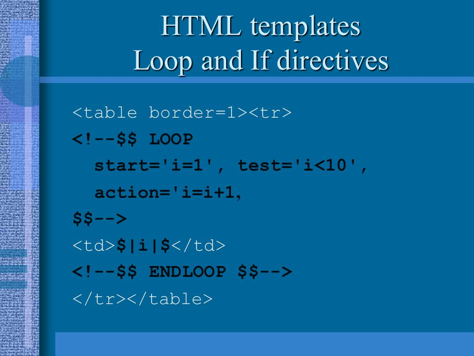 HTML templates Loop and If directives