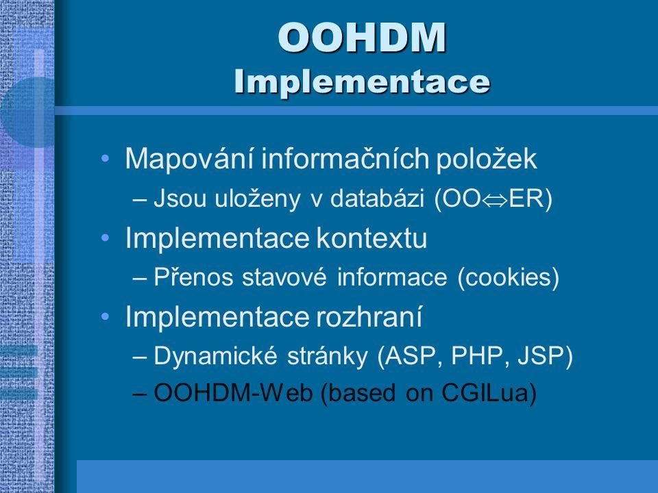 OOHDM Implementace Mapování informačních položek Implementace kontextu