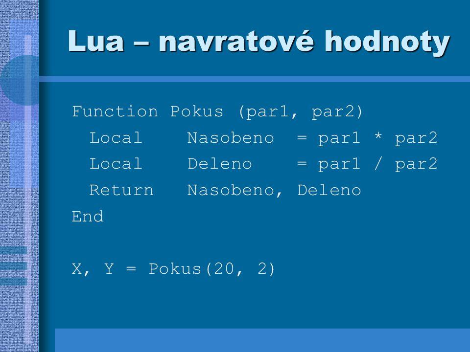 Lua – navratové hodnoty