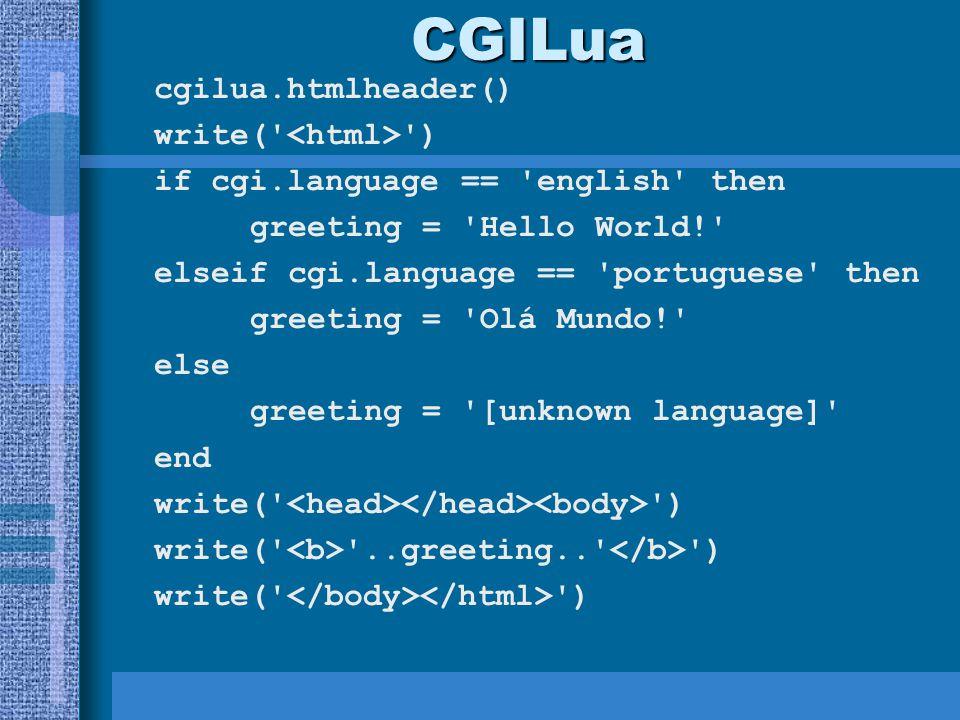 CGILua cgilua.htmlheader() write( <html> )