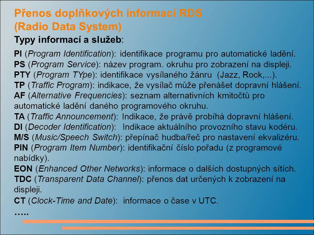Přenos doplňkových informací RDS (Radio Data System)