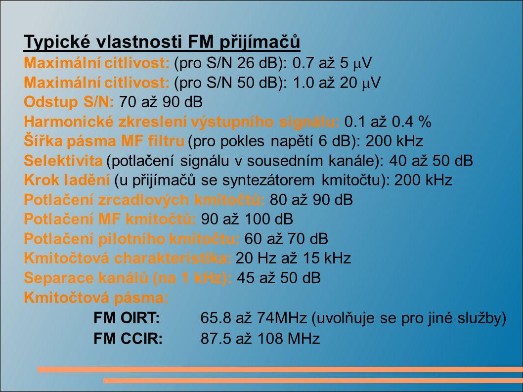 Typické vlastnosti FM přijímačů