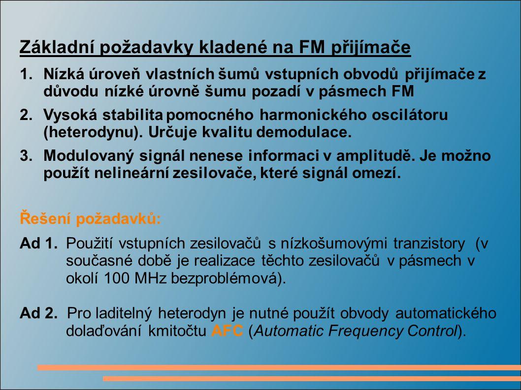 Základní požadavky kladené na FM přijímače