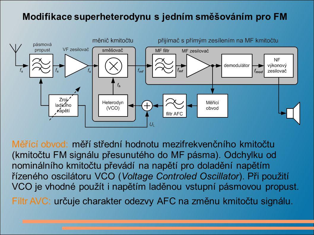 Modifikace superheterodynu s jedním směšováním pro FM