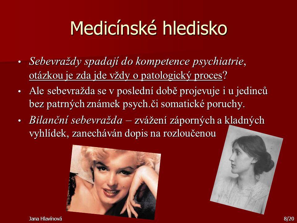 Medicínské hledisko Sebevraždy spadají do kompetence psychiatrie, otázkou je zda jde vždy o patologický proces