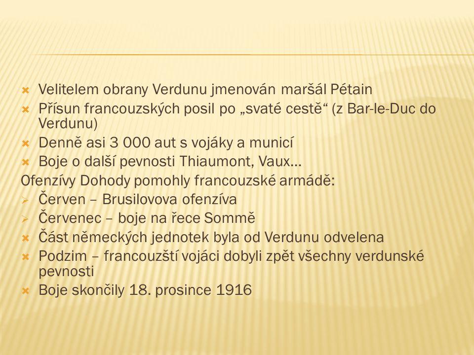 Velitelem obrany Verdunu jmenován maršál Pétain