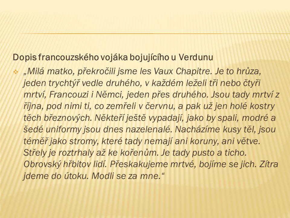 Dopis francouzského vojáka bojujícího u Verdunu