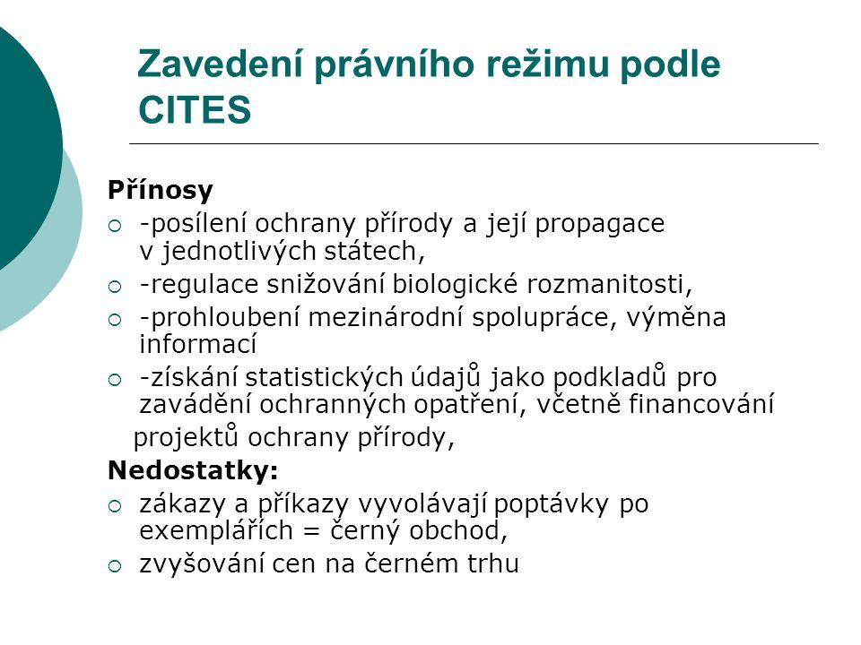 Zavedení právního režimu podle CITES