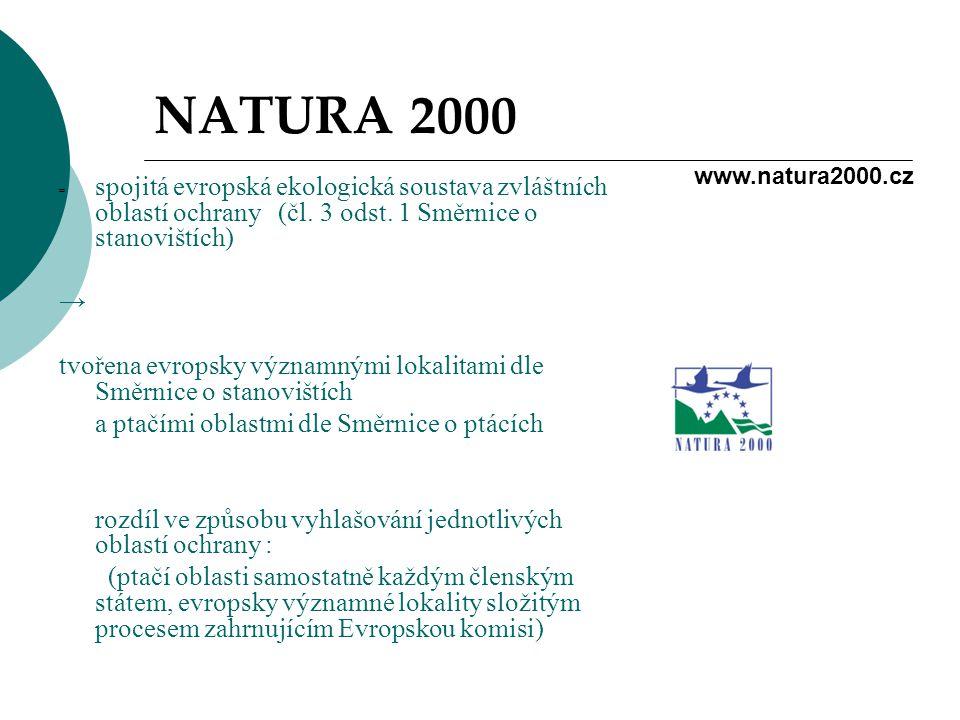 NATURA 2000 = spojitá evropská ekologická soustava zvláštních oblastí ochrany (čl. 3 odst. 1 Směrnice o stanovištích)