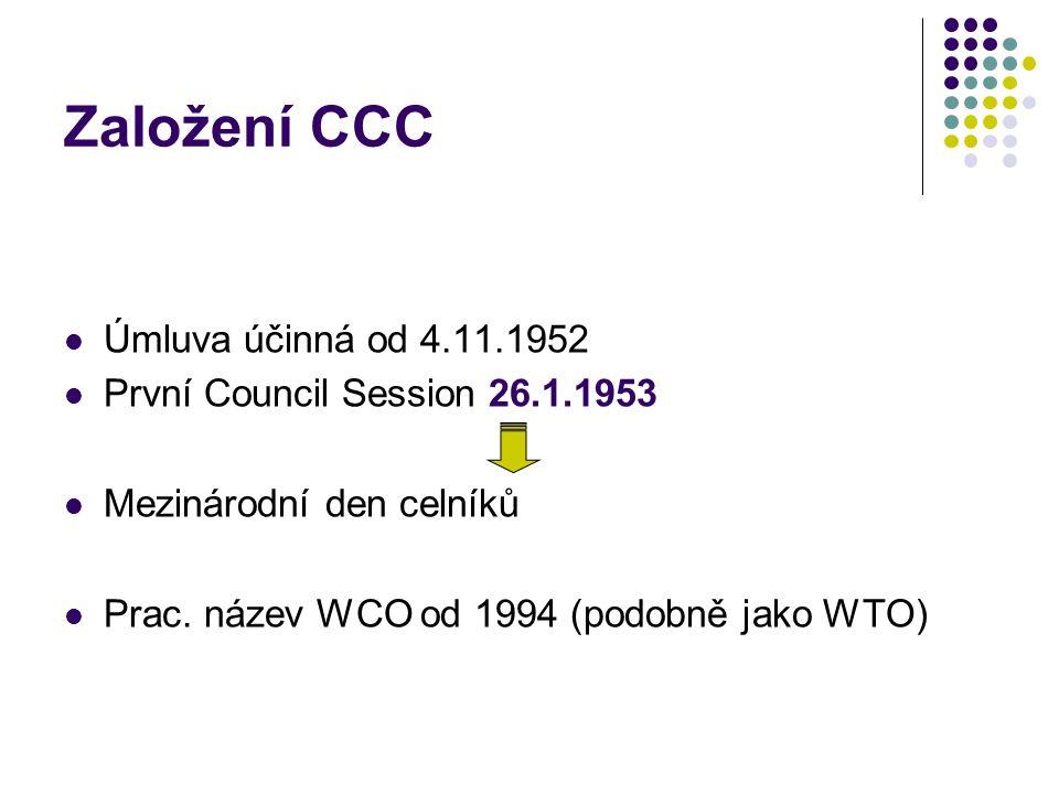 Založení CCC Úmluva účinná od 4.11.1952