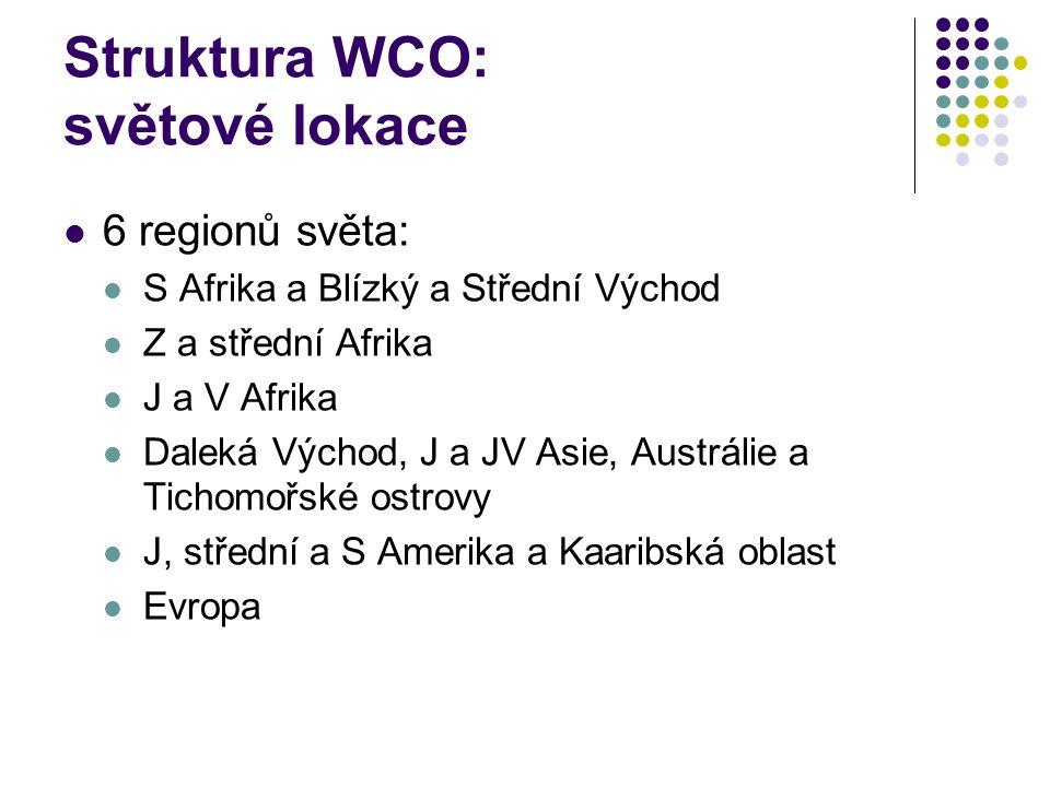Struktura WCO: světové lokace
