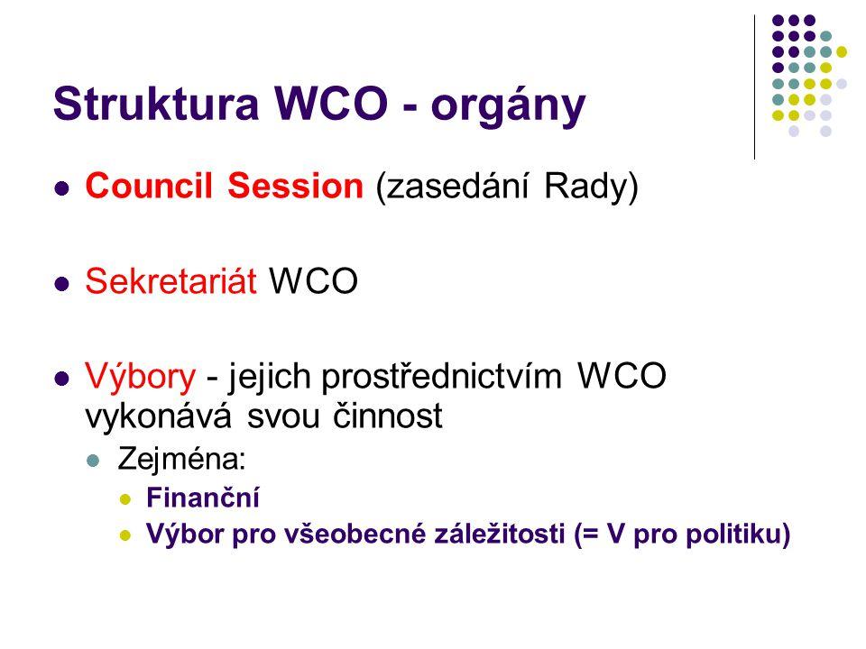 Struktura WCO - orgány Council Session (zasedání Rady) Sekretariát WCO