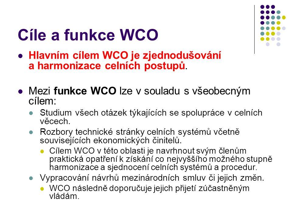 Cíle a funkce WCO Hlavním cílem WCO je zjednodušování a harmonizace celních postupů. Mezi funkce WCO lze v souladu s všeobecným cílem: