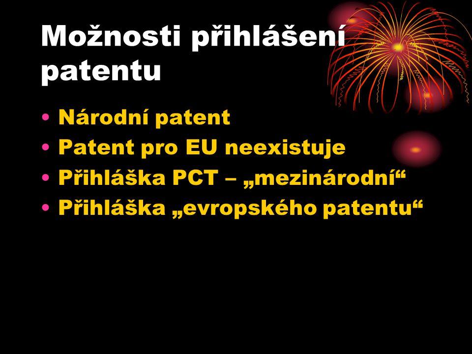 Možnosti přihlášení patentu