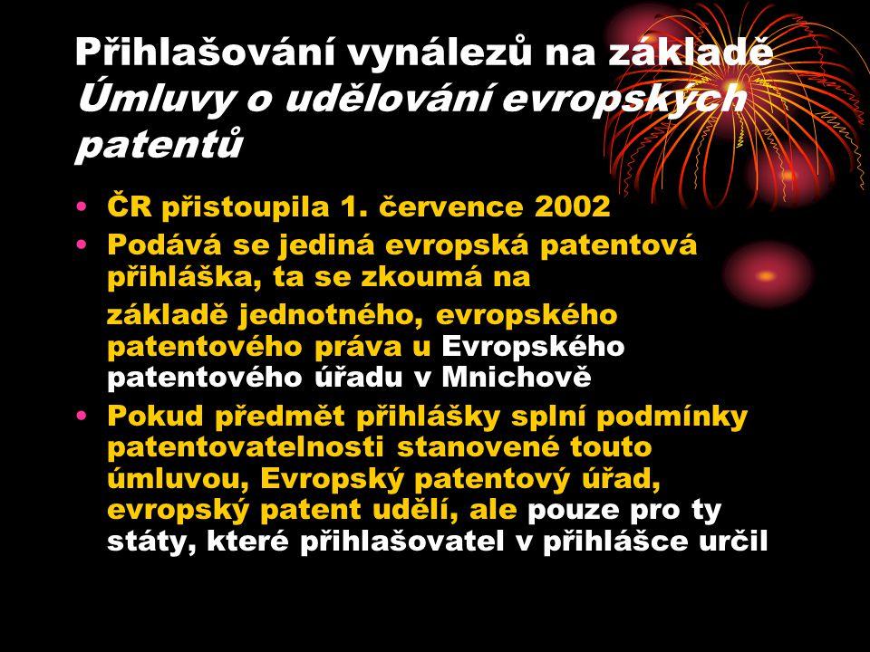 Přihlašování vynálezů na základě Úmluvy o udělování evropských patentů