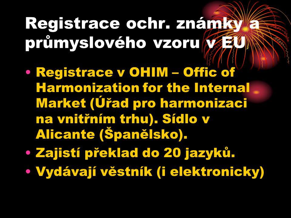 Registrace ochr. známky a průmyslového vzoru v EU
